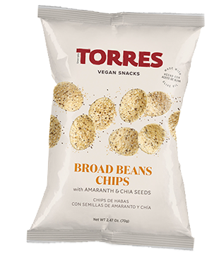 Broad beans chips with amaranth and chia seeds